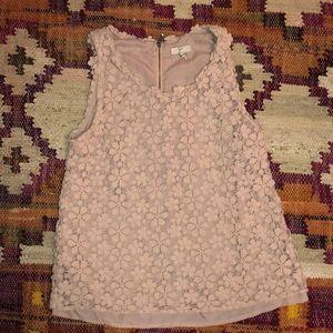 Joie- Pink floral lace/crochet top
